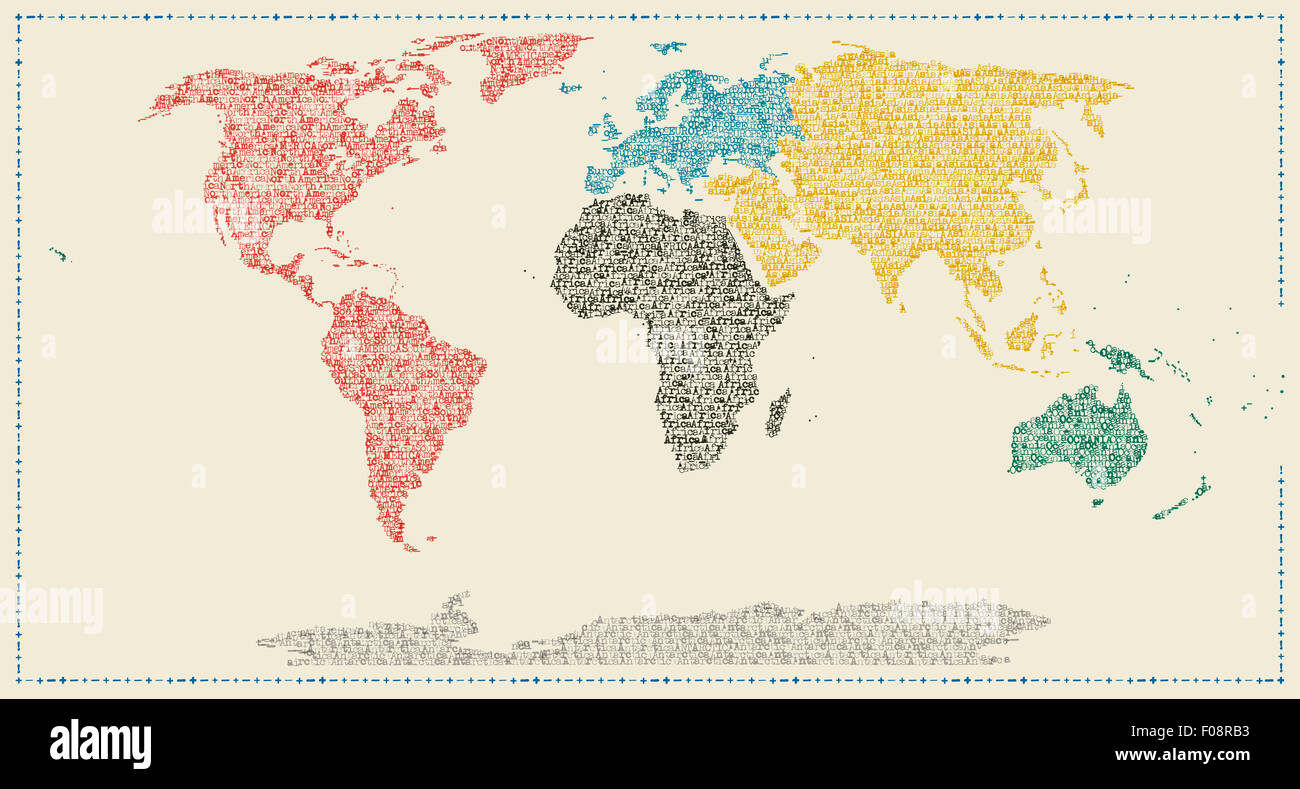 Map of the world made with continents names in typewriter font map of the world made with continents names in typewriter font gumiabroncs Image collections