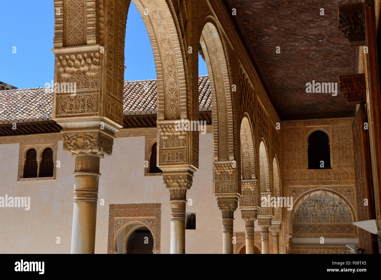 Patio de los Arrayanes in Palacio de Comares, Alhambra Palace Stock Photo, Ro...