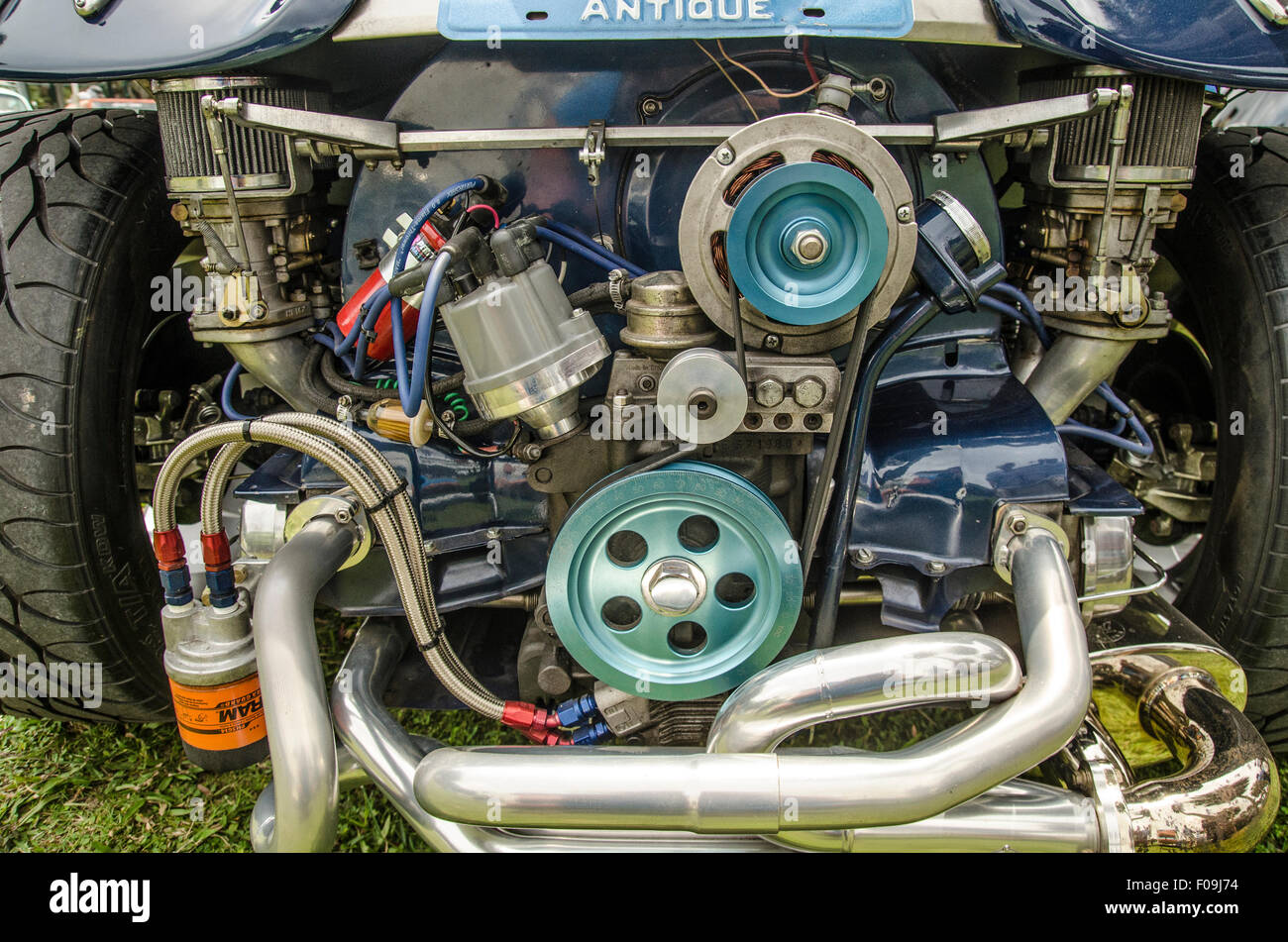 Closeup image of yellow antique car at car show Stock Photo ...
