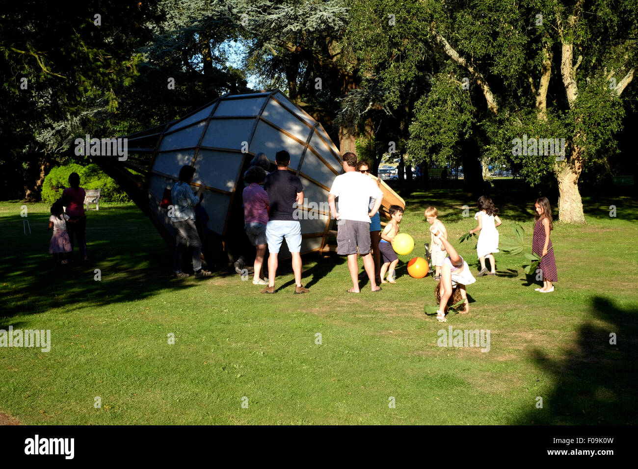 stock photo people looking at large garden camera obscura away from the chilli festival west dean gardens chichester england uk 2015 - Large Garden 2015