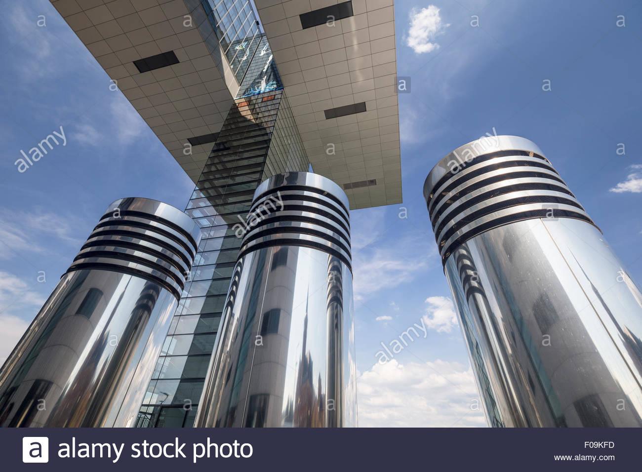 Kranhaeuser Kranhaus Buildings Upside Down L Shape Spectacular Urban  Regeneration Project Modern Landmark Cologne Germany Europe