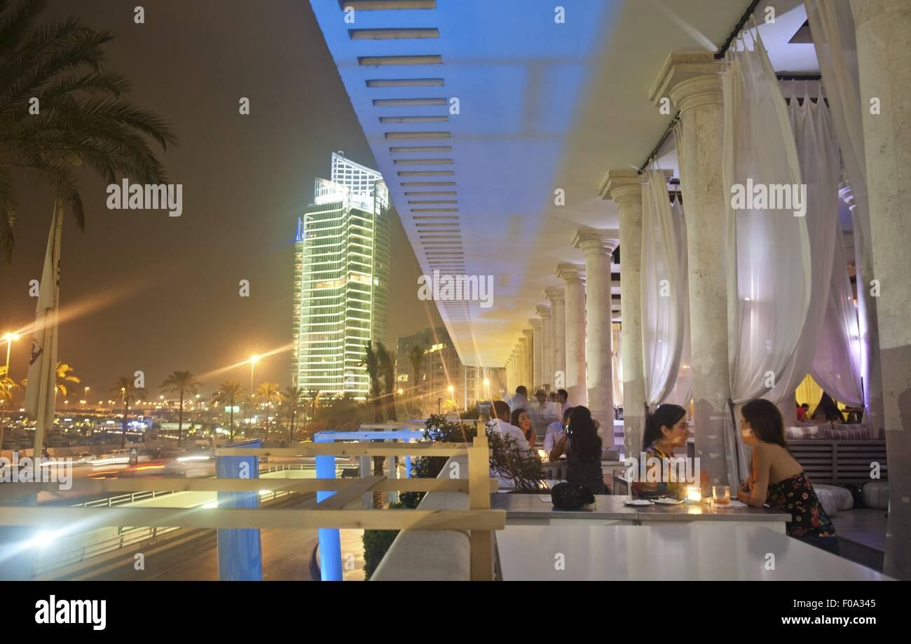 People dining at lounge in luxury hotel phoenicia beirut lebanon