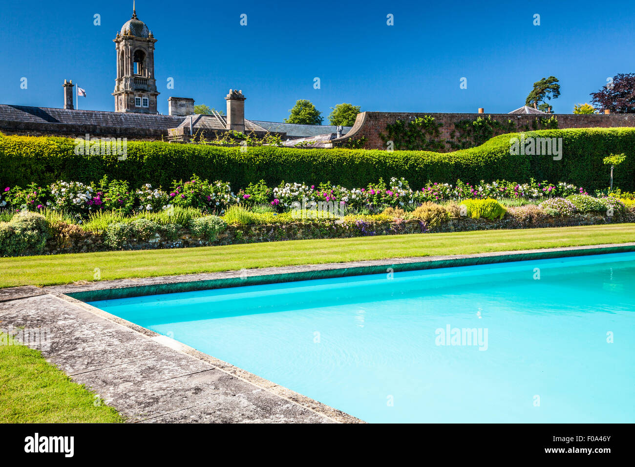 The Swimming Pool In The Walled Garden Of Bowood House In Wiltshire Stock Photo Royalty Free