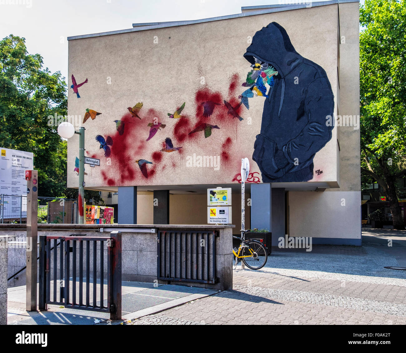 Berlin kreuzberg street art mural hooded man and for Berlin wall mural