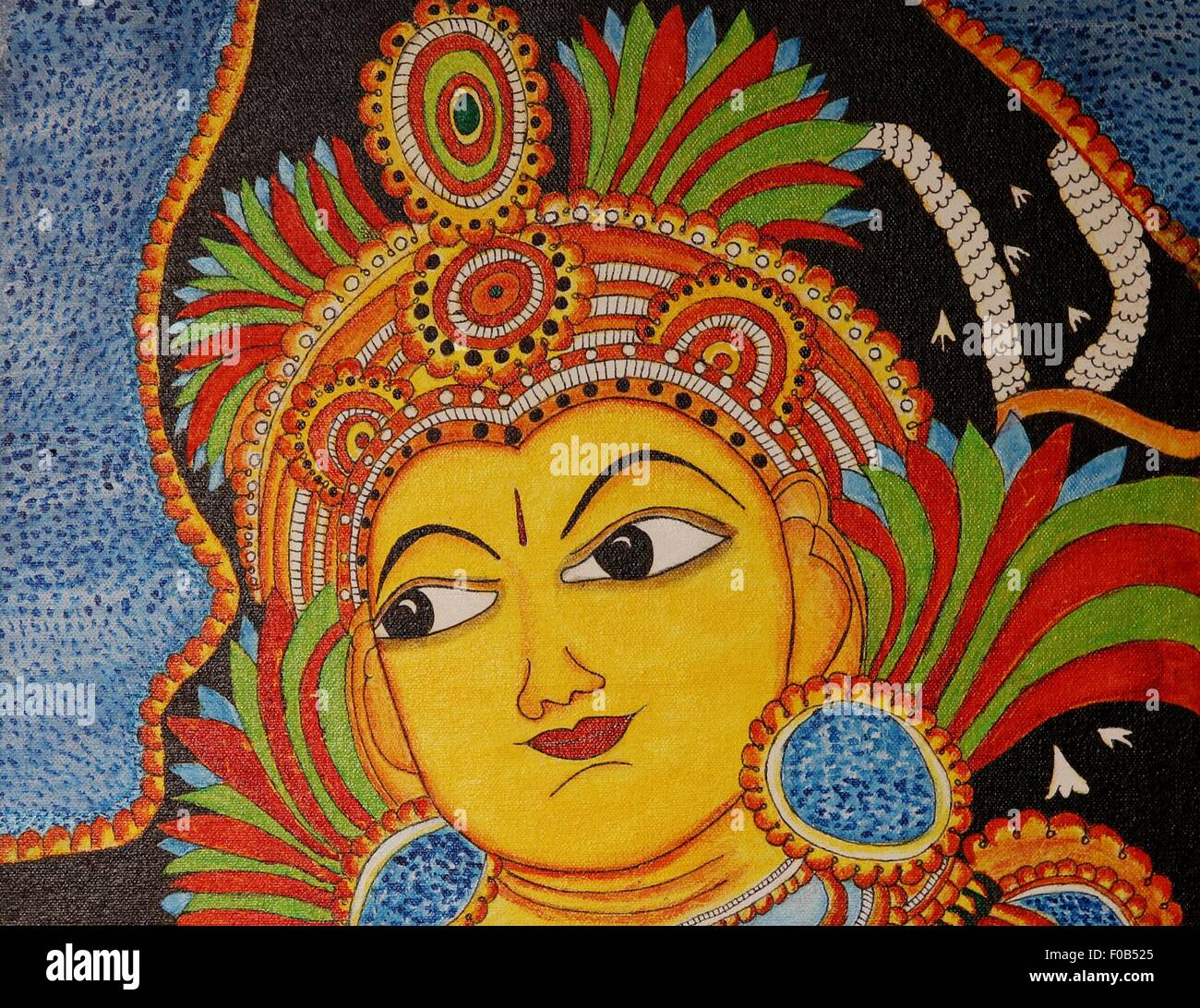 mural painting of lord krishna on canvas stock photo