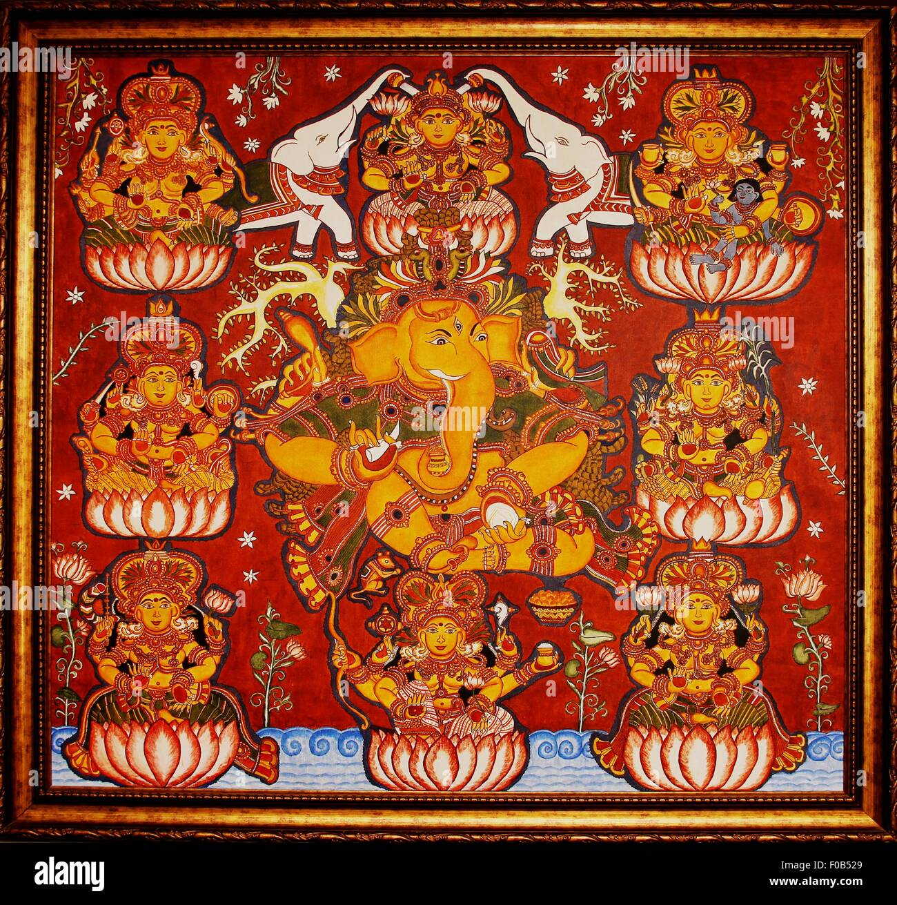 Mural painting of lord ganesh with ashtalakshmi on canvas for Canvas mural painting