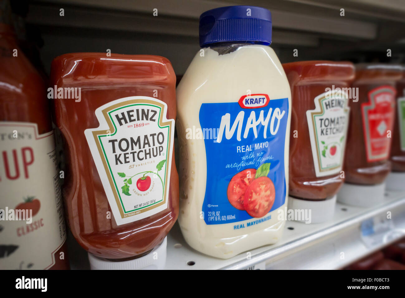 bottles of kraft mayonnaise and h j ketchup on a. Black Bedroom Furniture Sets. Home Design Ideas