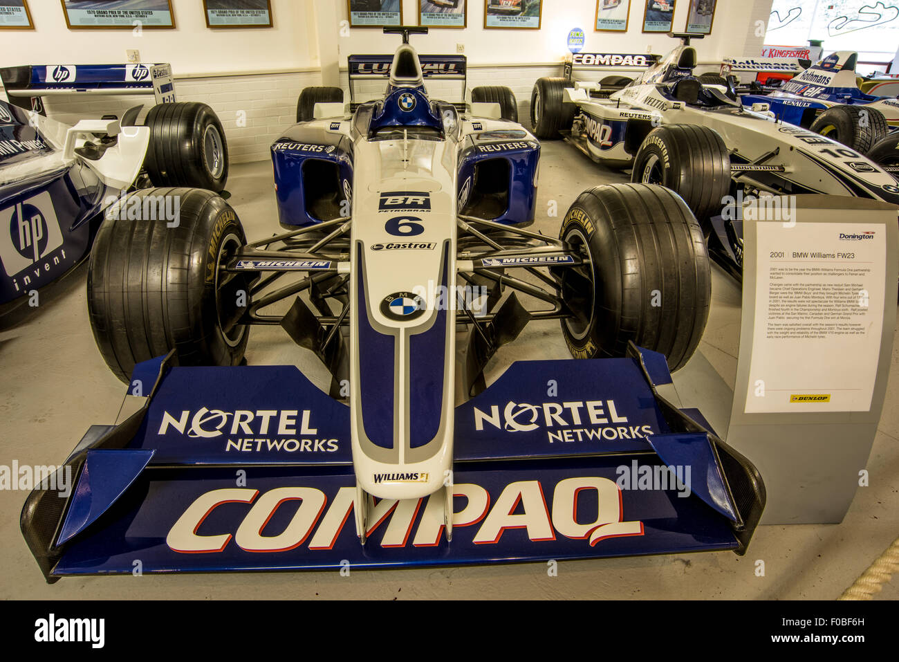 2001 bmw williams fw23 driven by ralf schumacher and juan pablo montoya at the museum of donington raceway leicestershire