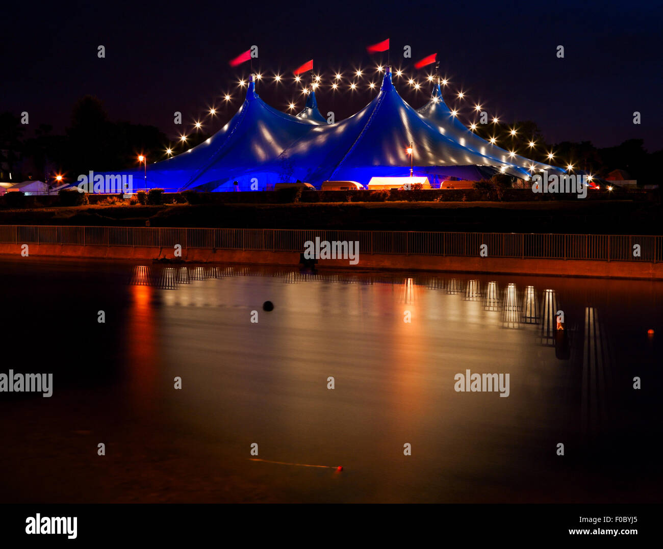 Big Top  circus style blue tent and row of lights on the bank of Corrib river in Galway Ireland.    sc 1 st  Alamy & Big Top
