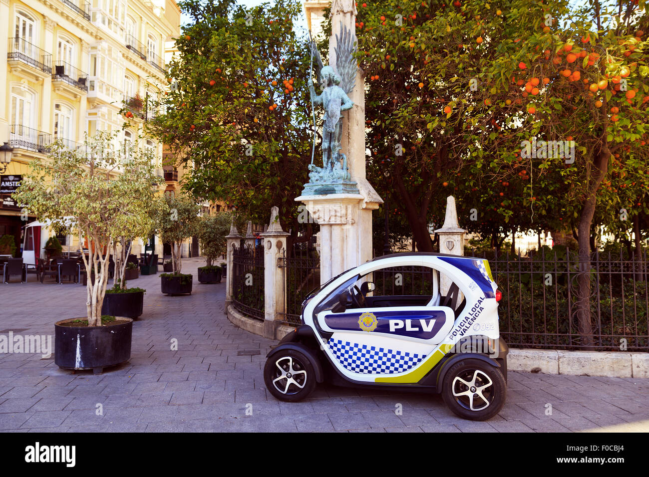 Electric Spanish Police Car Valencia Style Stock Photo Royalty