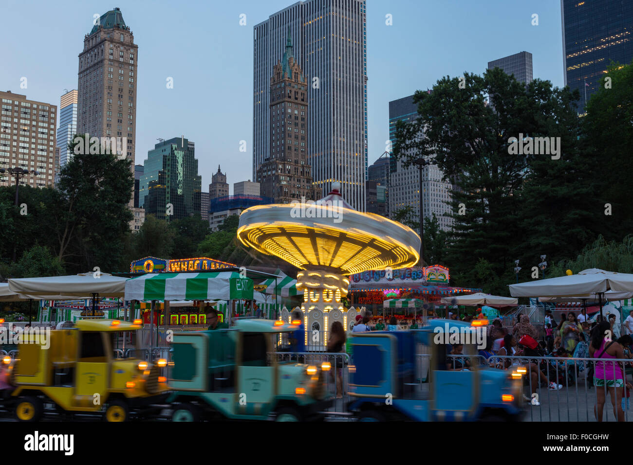 Victorian Gardens Carnival Rides In Central Park With Skyline In Stock Photo 86328309 Alamy