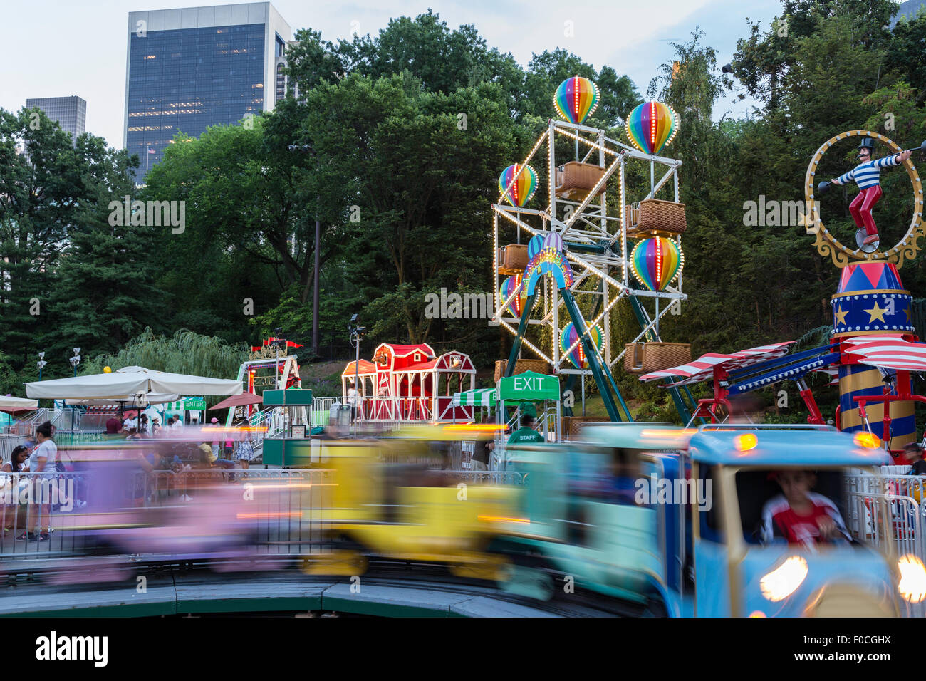 Victorian Gardens Carnival Rides In Central Park With Skyline In Stock Photo 86328310 Alamy