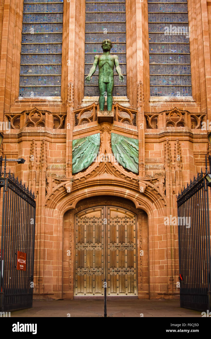 west door entrance to the cathedral church of christ in liverpool