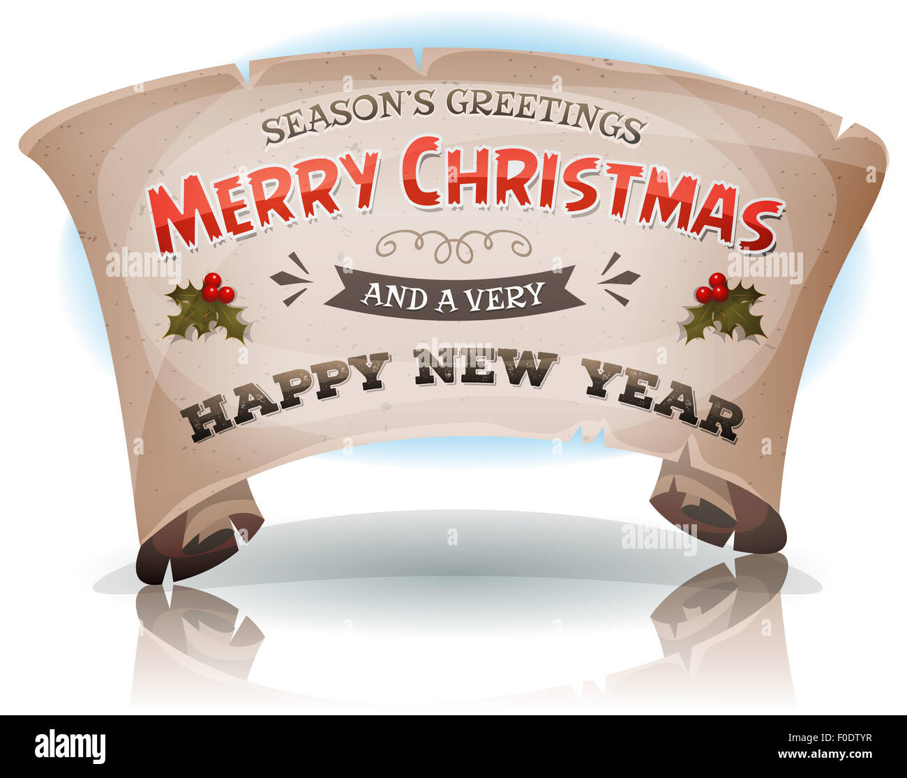 Illustration of a cartoon seasons greetings and happy new year illustration of a cartoon seasons greetings and happy new year banner on parchment scroll sign for winter holidays kristyandbryce Choice Image