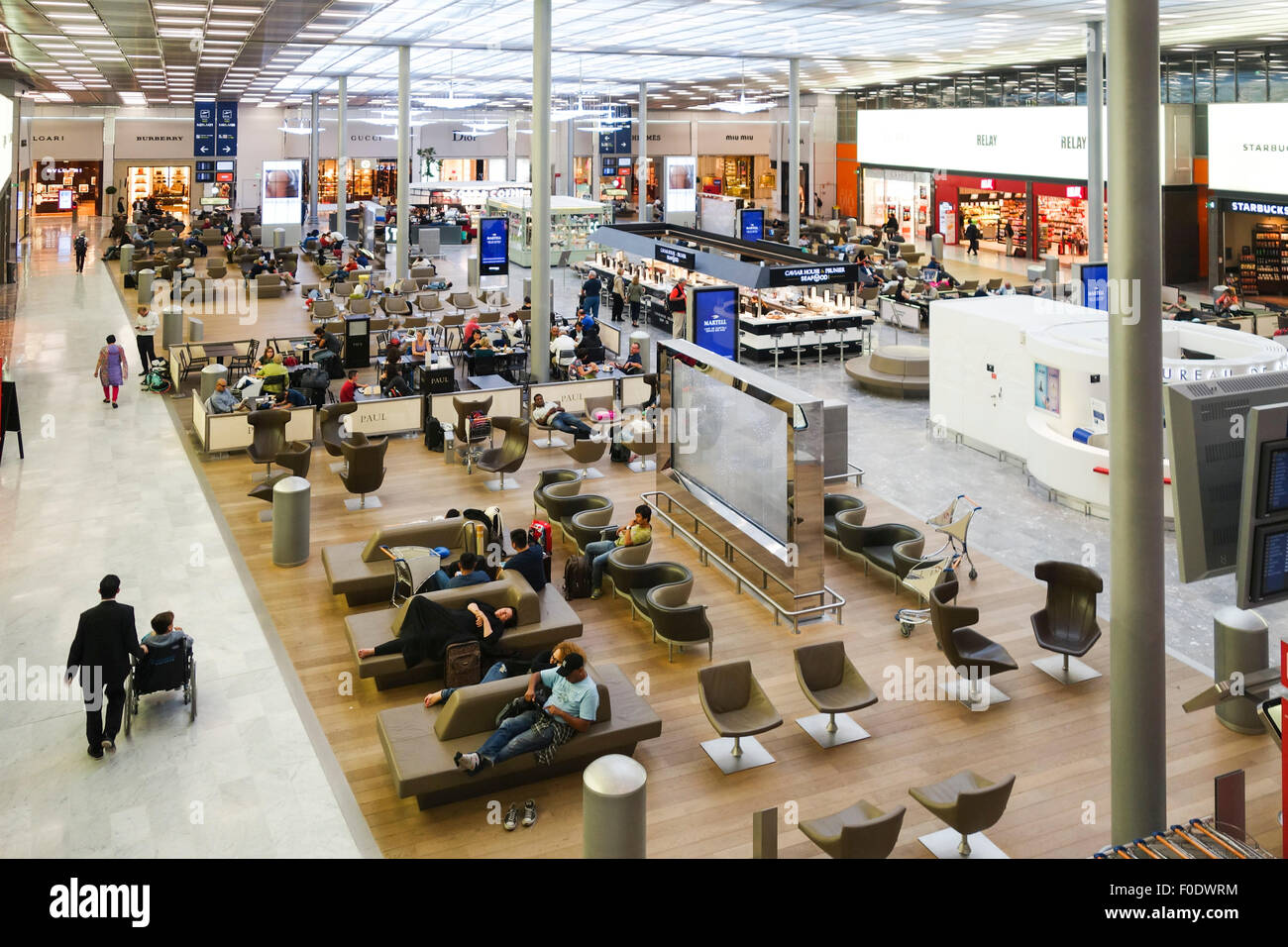 Lounge area with luxury outlets, Terminal 2A/2C, Roissy Charles De ...