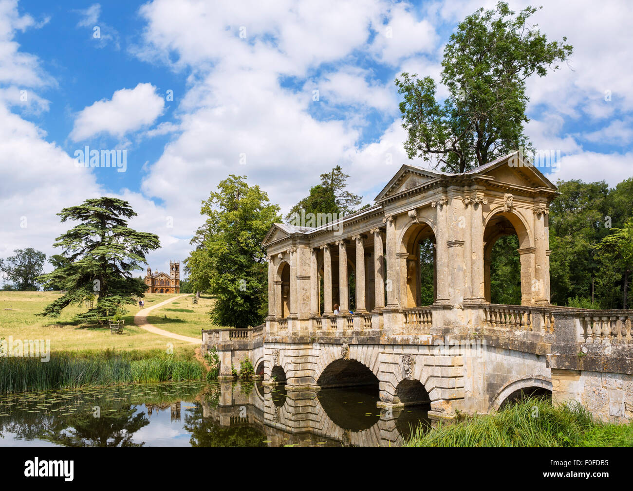 Stock Photo   The Palladian Bridge With The Gothic Temple In The Distance,  Stowe Landscape Gardens, Stowe House, Buckinghamshire, England, UK
