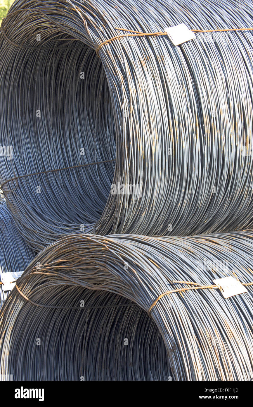Iron in coils tied with wire Stock Photo, Royalty Free Image ...