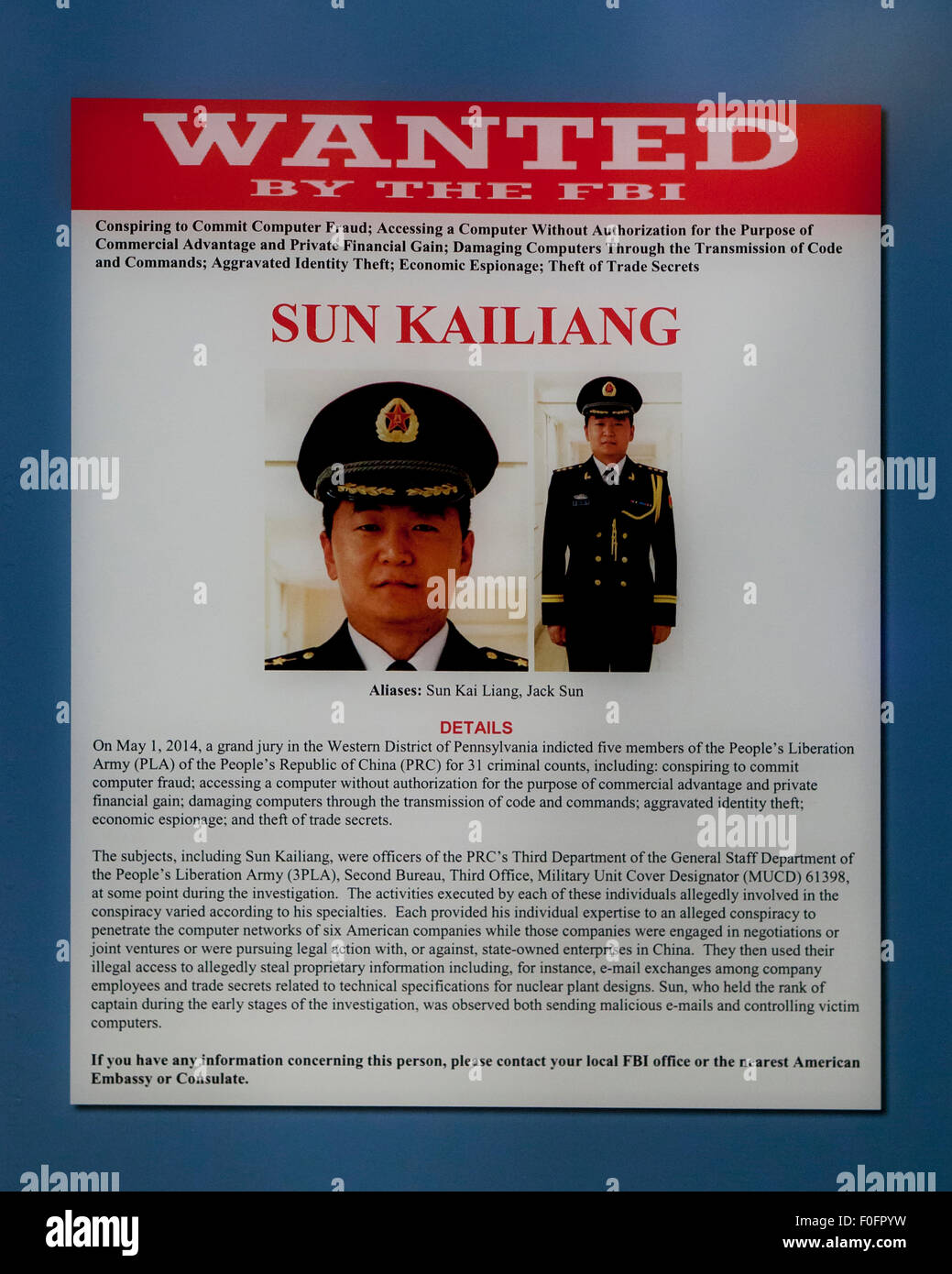 FBI Wanted poster of Sun Kailiang Chinese cyberespionage hacker – Wanted Person Poster