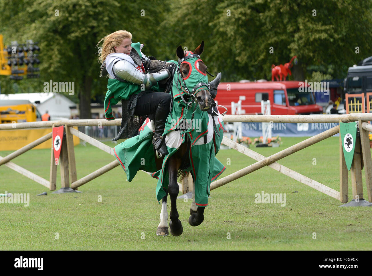 The Knights of the Damned medieval jousting team with a ...