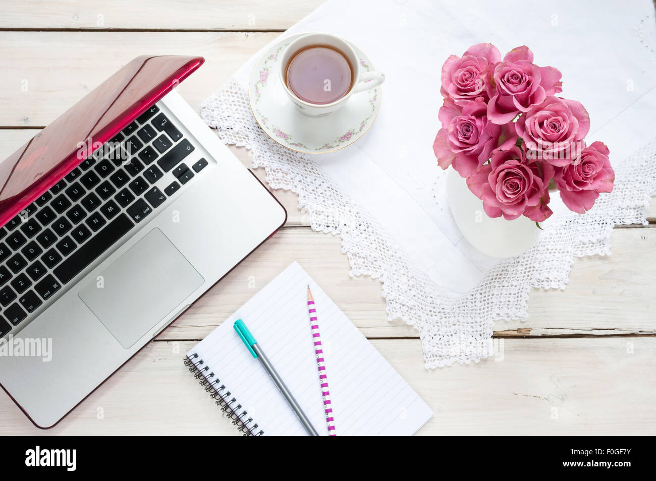 Working From Home Laptop Pink Roses Teacup Notebook