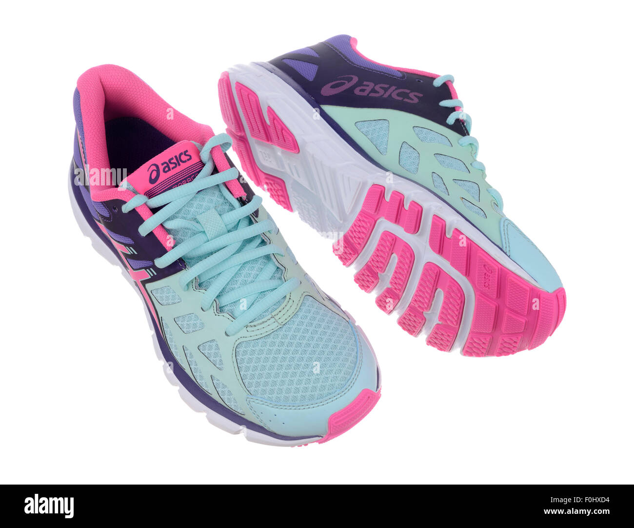 Turquoise blue and pink Asics Zaraca 3 running shoes cut out isolated on  white background