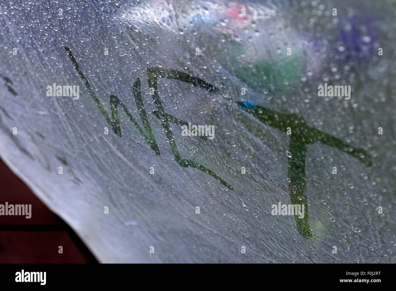 Words written in the condensation on a tent canvas & Words written in the condensation on a tent canvas Stock Photo ...