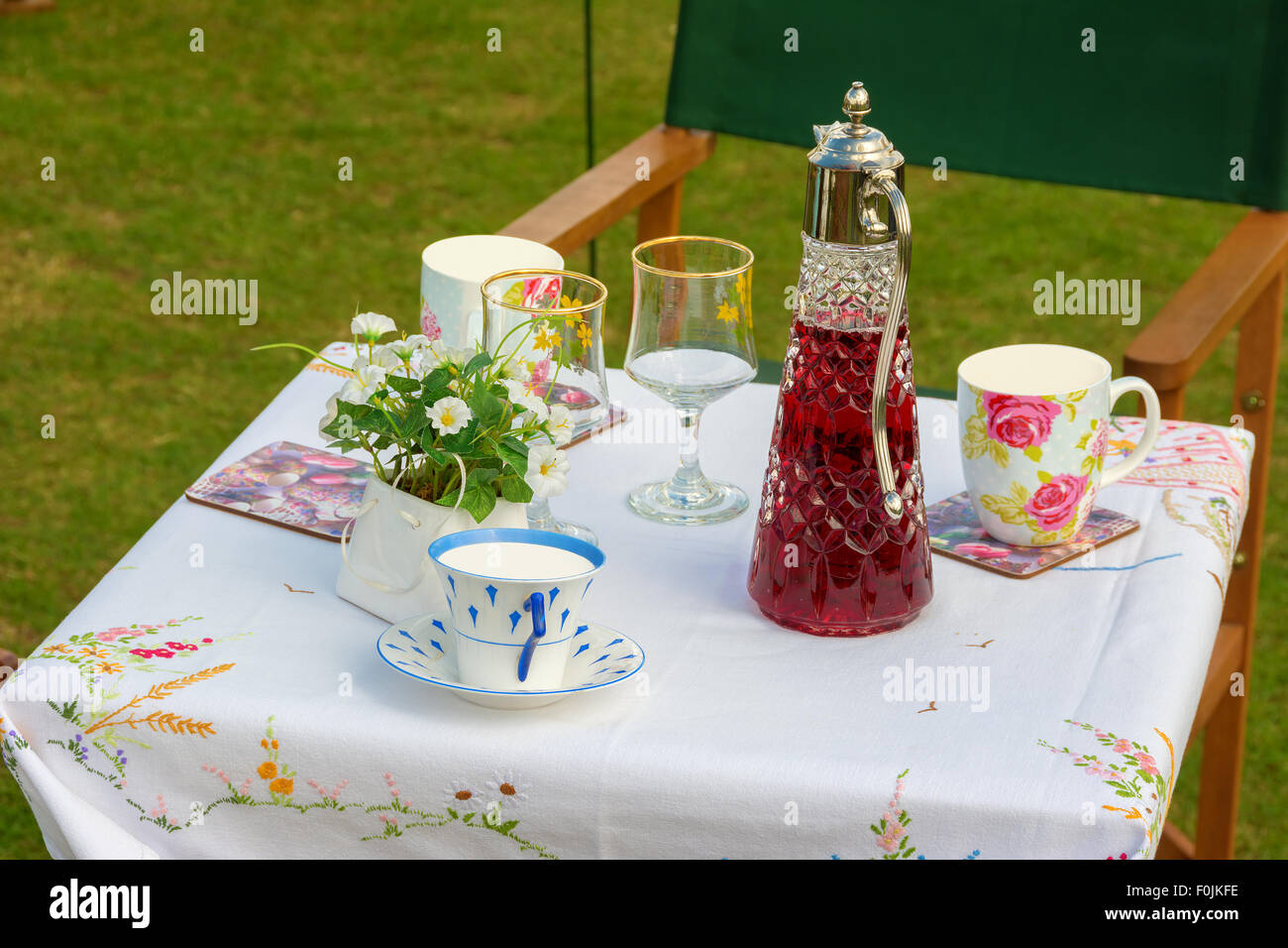 Traditional Picnic Table Set Outdoors With Wine