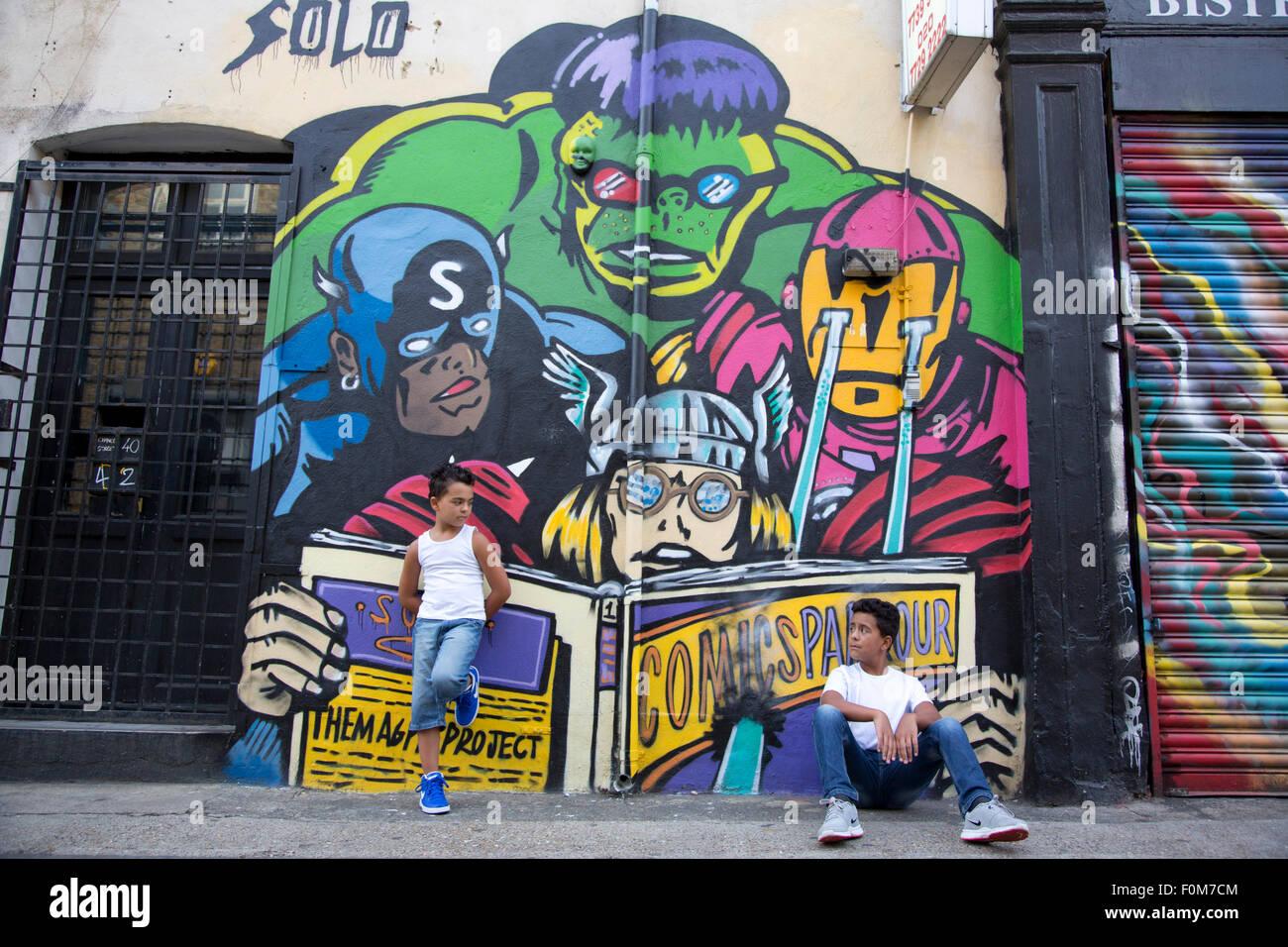 Graffiti wall uk - 2 Boys Standing In Front Of A Graffiti Wall Uk