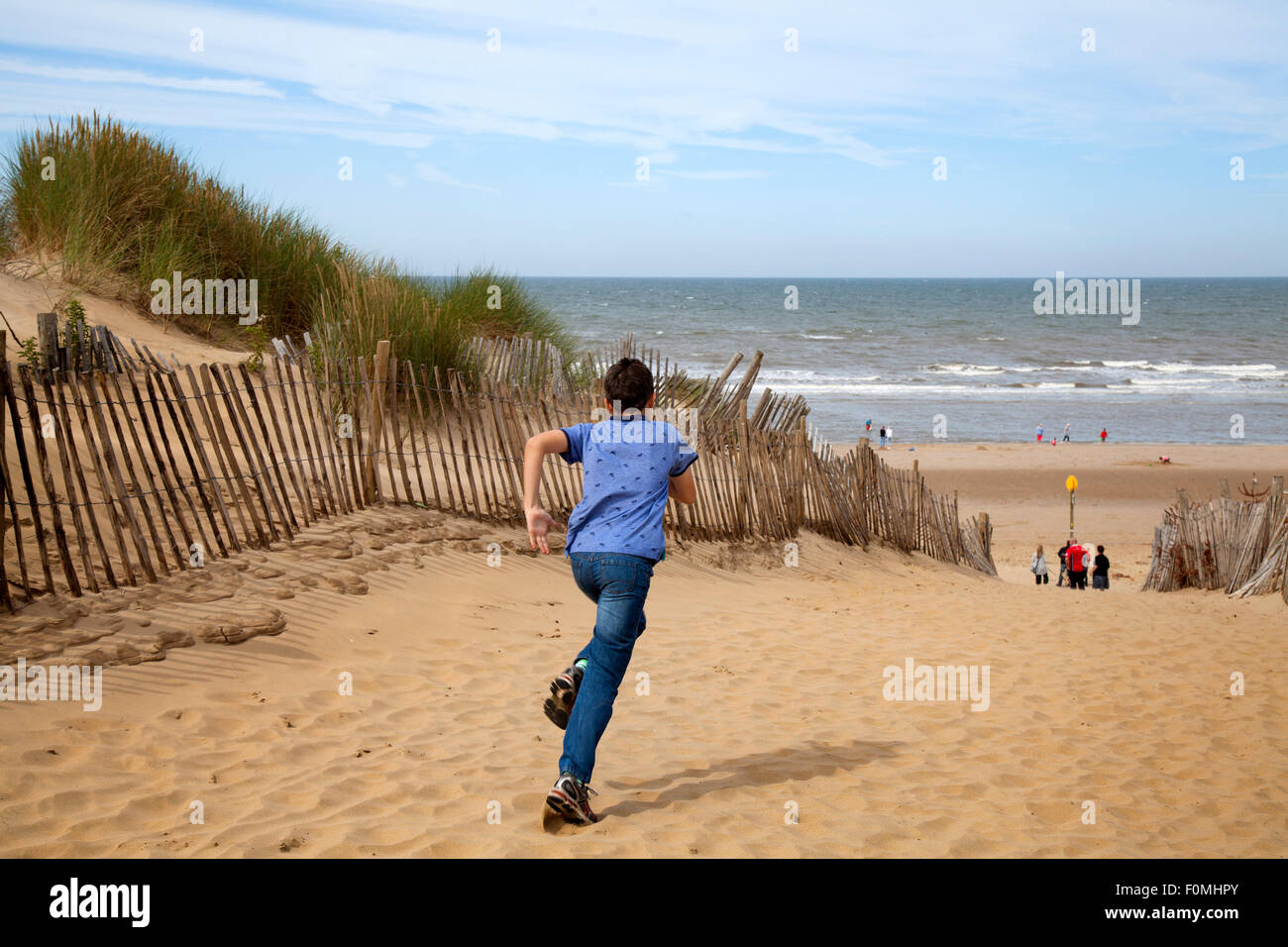 Freshfield Formby Southport Uk Th August  Visitors To The National Trust Dunes And Beaches Sunny Start To The Day As Holidaymakers Tourists