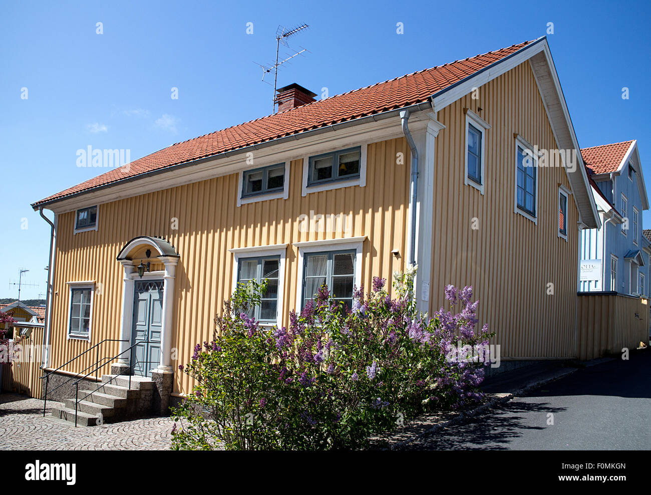 Swedish Style House typical swedish-style house in fjallbacka, sweden stock photo