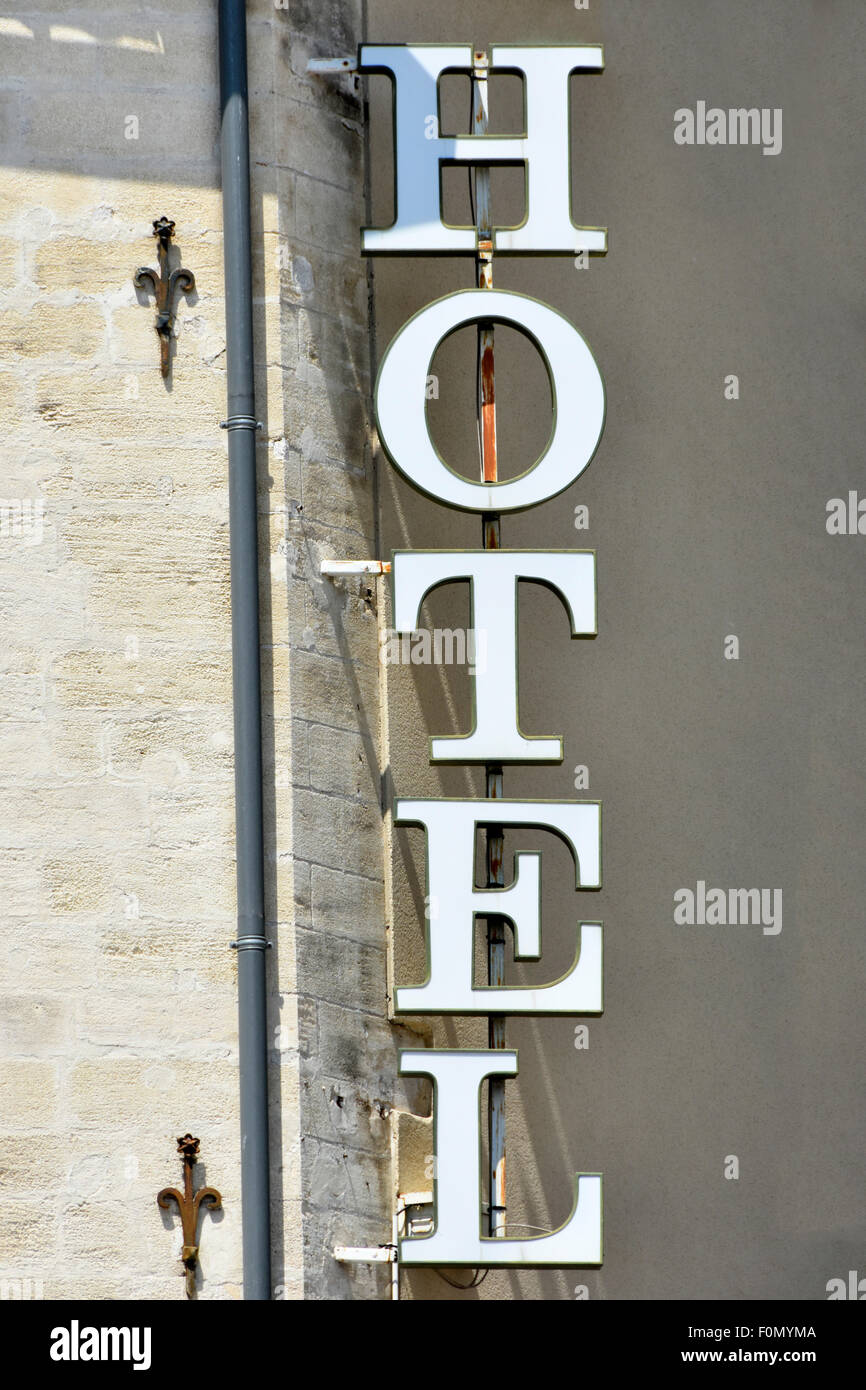Vertical Hotel Sign In Avignon Provence Alpes Cote DAzur Vaucluse France