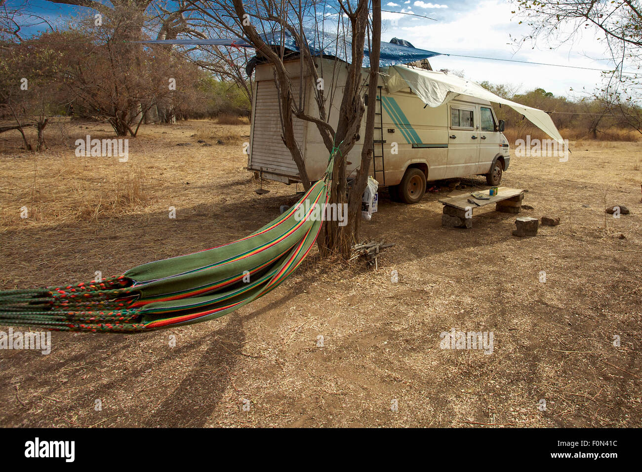 camper in the bush with hammock ready kayes in mali camper in the bush with hammock ready kayes in mali stock photo      rh   alamy