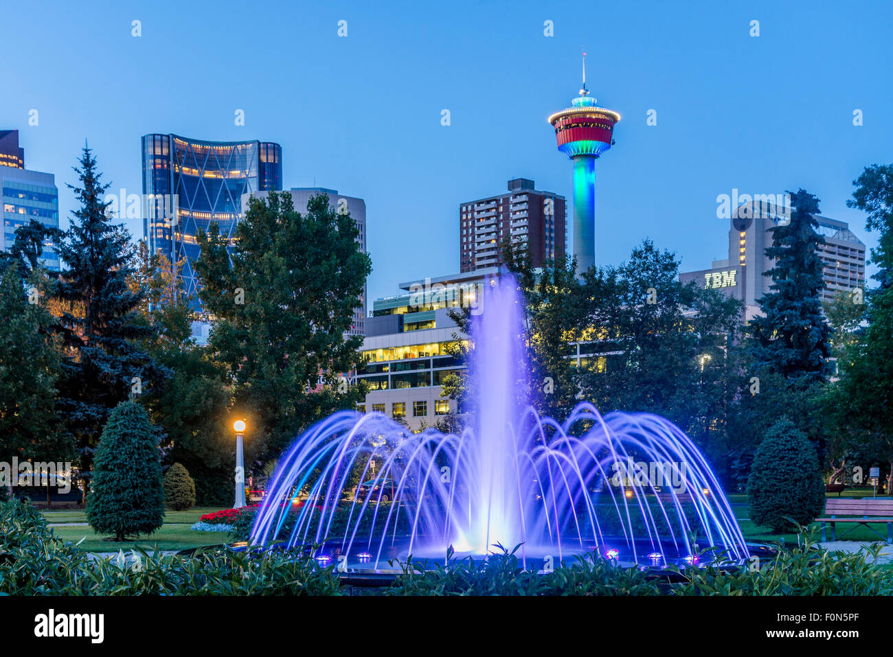 Water fountains calgary - Illuminated Fountain Central Memorial Park Calgary Alberta Canada Stock Image