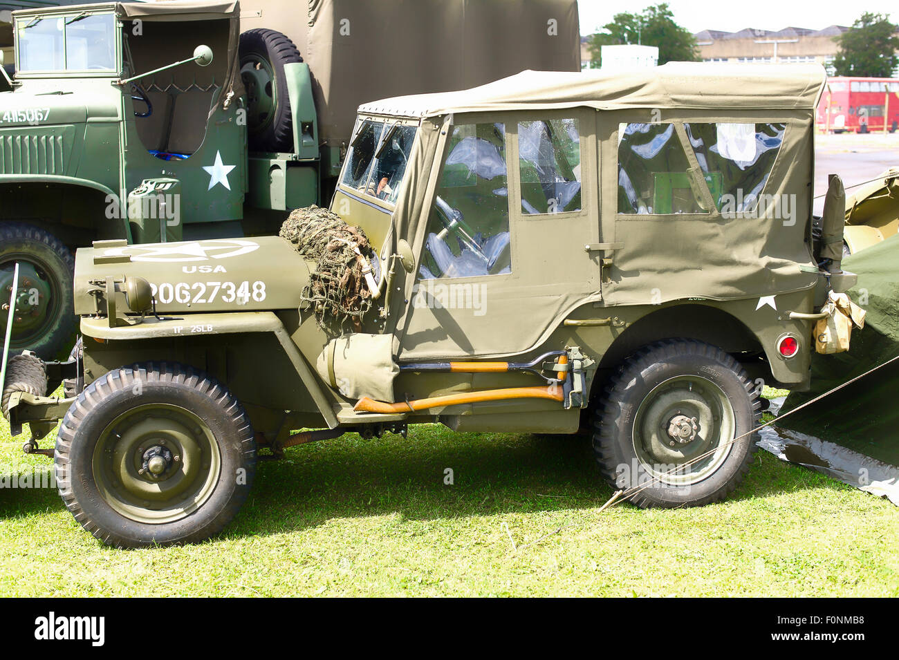 Old wwii american military jeep at a public event in england uk stock photo