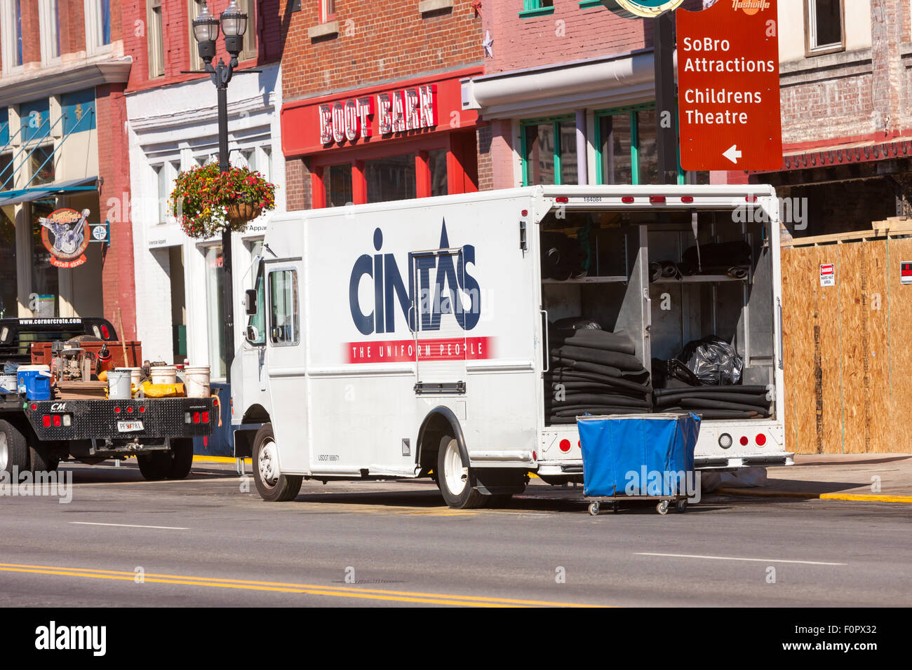 A cintas truck makes a delivery in downtown nashville tennessee stock image