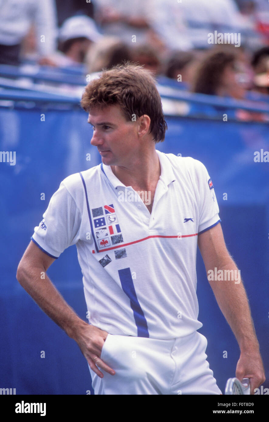 Jimmy Connors in action at the U S Open tennis tournament at