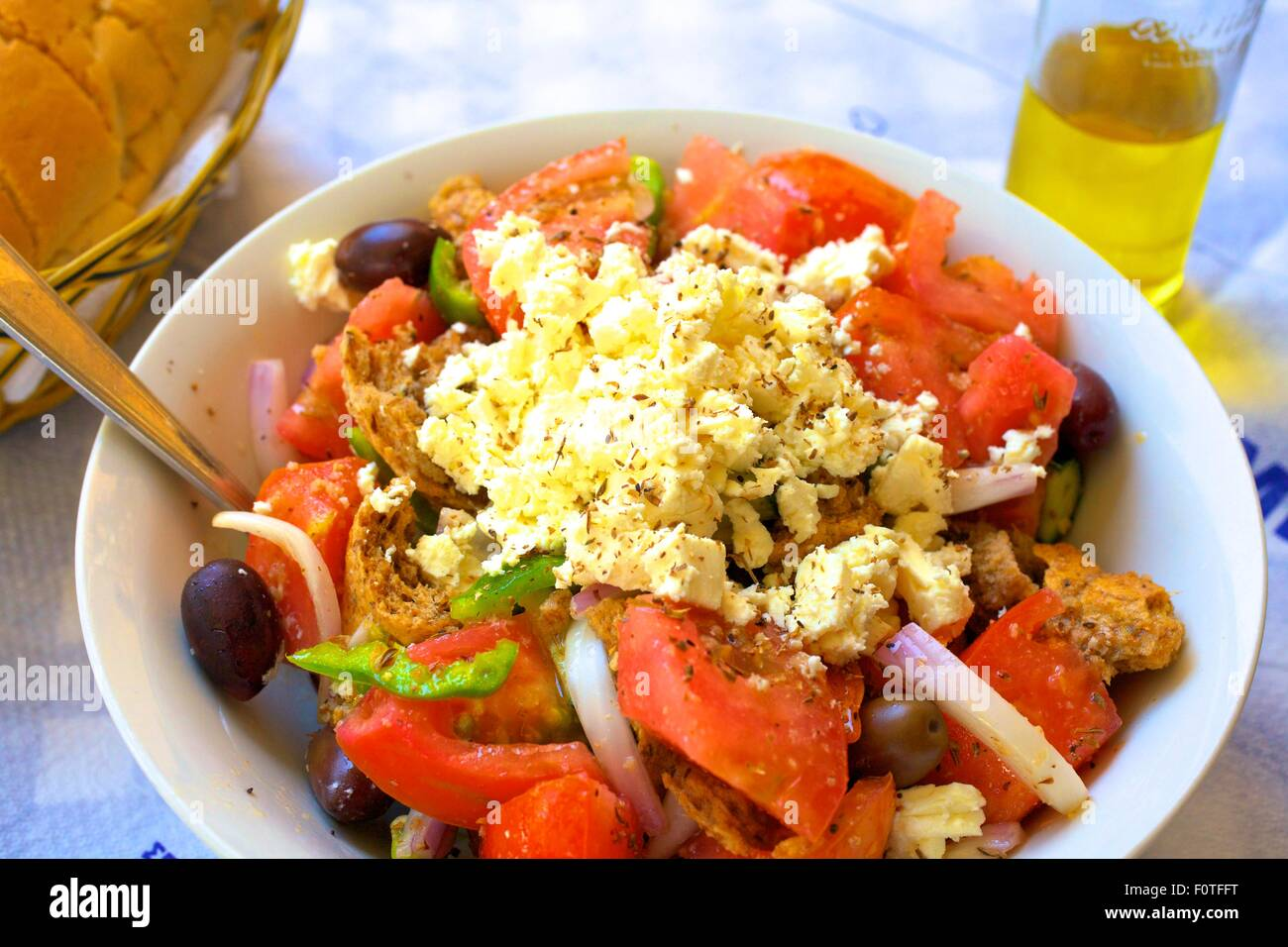 Greek Panzanella greek panzanella salad, kalymnos, dodecanese, greek islands