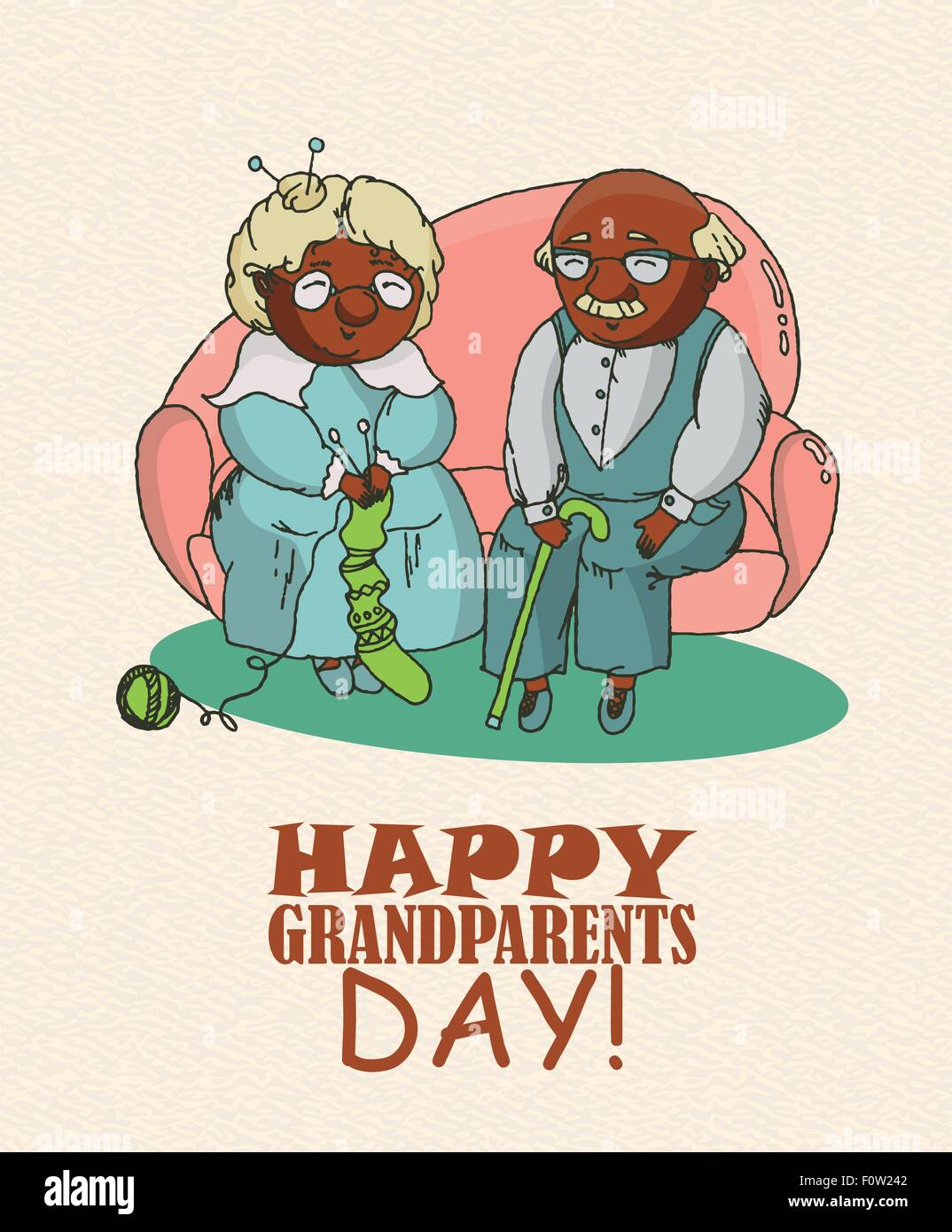 Happy granny vintage stock photos happy granny vintage stock happy grandparents day vector greeting card in doodle design happy couple african american retirees kristyandbryce Image collections