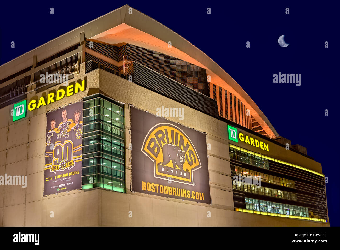 Exterior view to Boston Bruins TD Garden illuminated at night