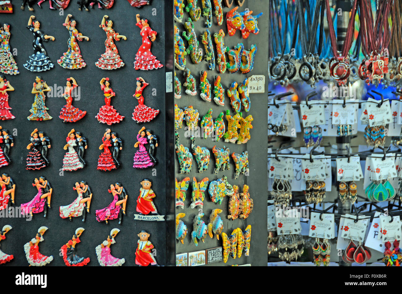 souvenirs stall with fridge magnets on a stall at la ramblas stock photo royalty free image. Black Bedroom Furniture Sets. Home Design Ideas