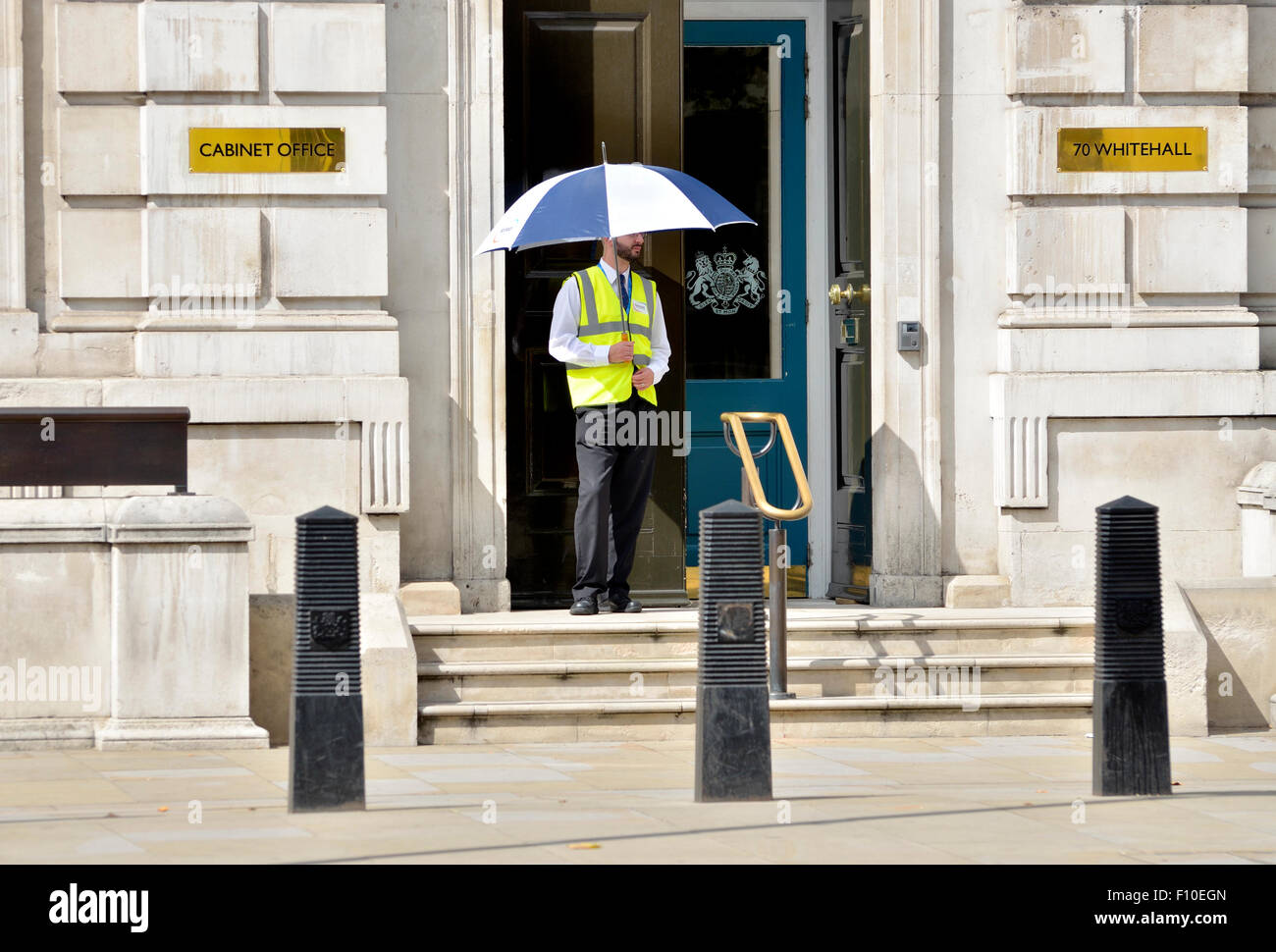 London, England, UK. Security guard outside the Cabinet Office, 70 ...