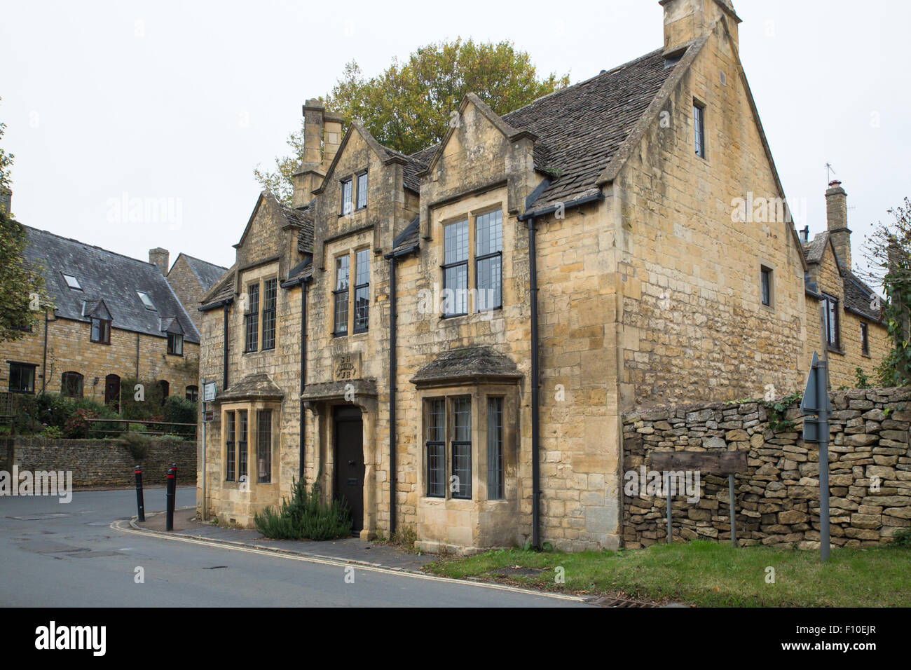 Typical Architecture On Old Stone House In Cotswolds English Countryside