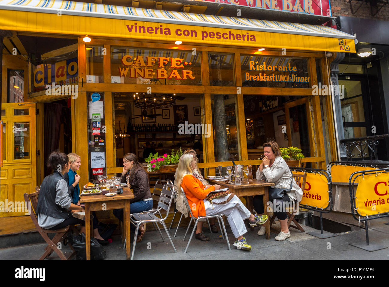 New York City Usa Women Sharing Drinks Wine On Italian Restaurant Stock Photo Royalty Free