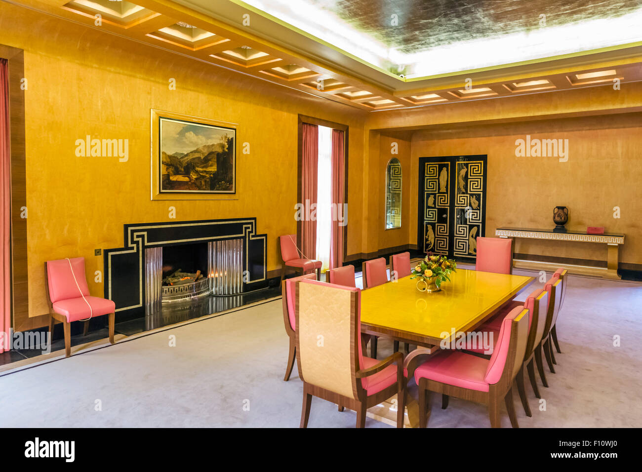 art deco dining room in eltham palace, the former home of stephen