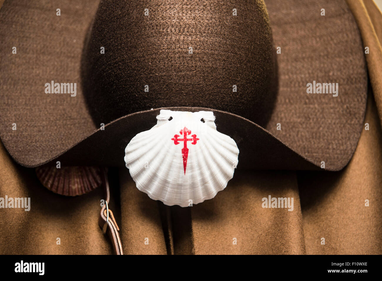 Pilgrims hat with shell symbols of way of st james stock photo pilgrims hat with shell symbols of way of st james biocorpaavc Image collections