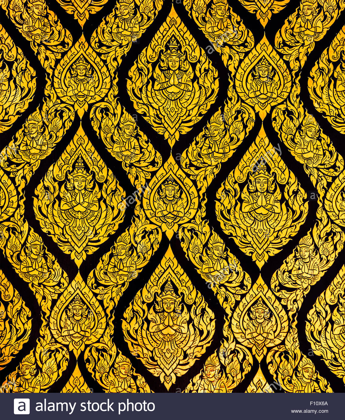Thai Style Art Of Pattern On The Door In Temple Thailand