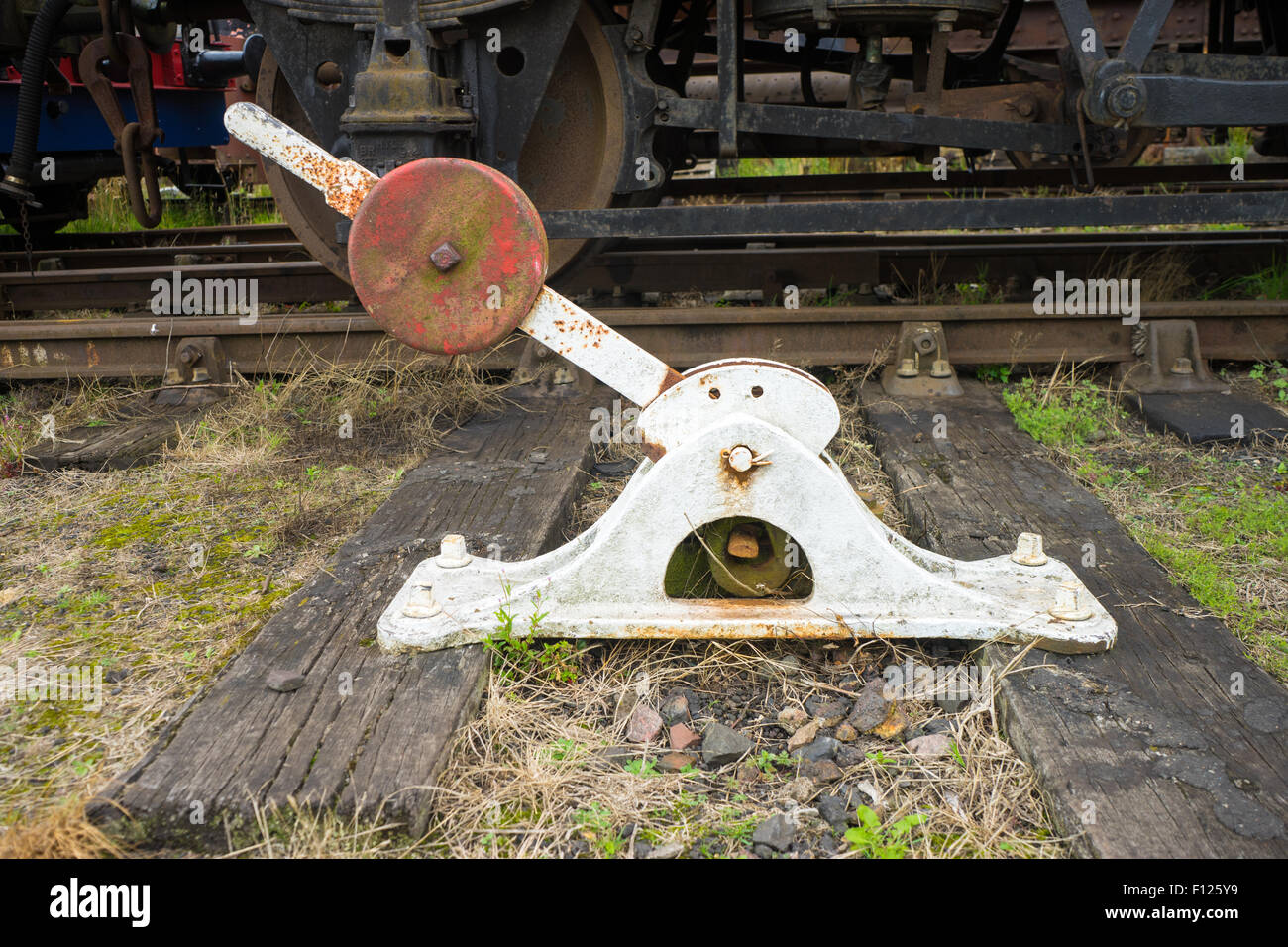 Lever Train Track : Old manually operated railway train track points lever a