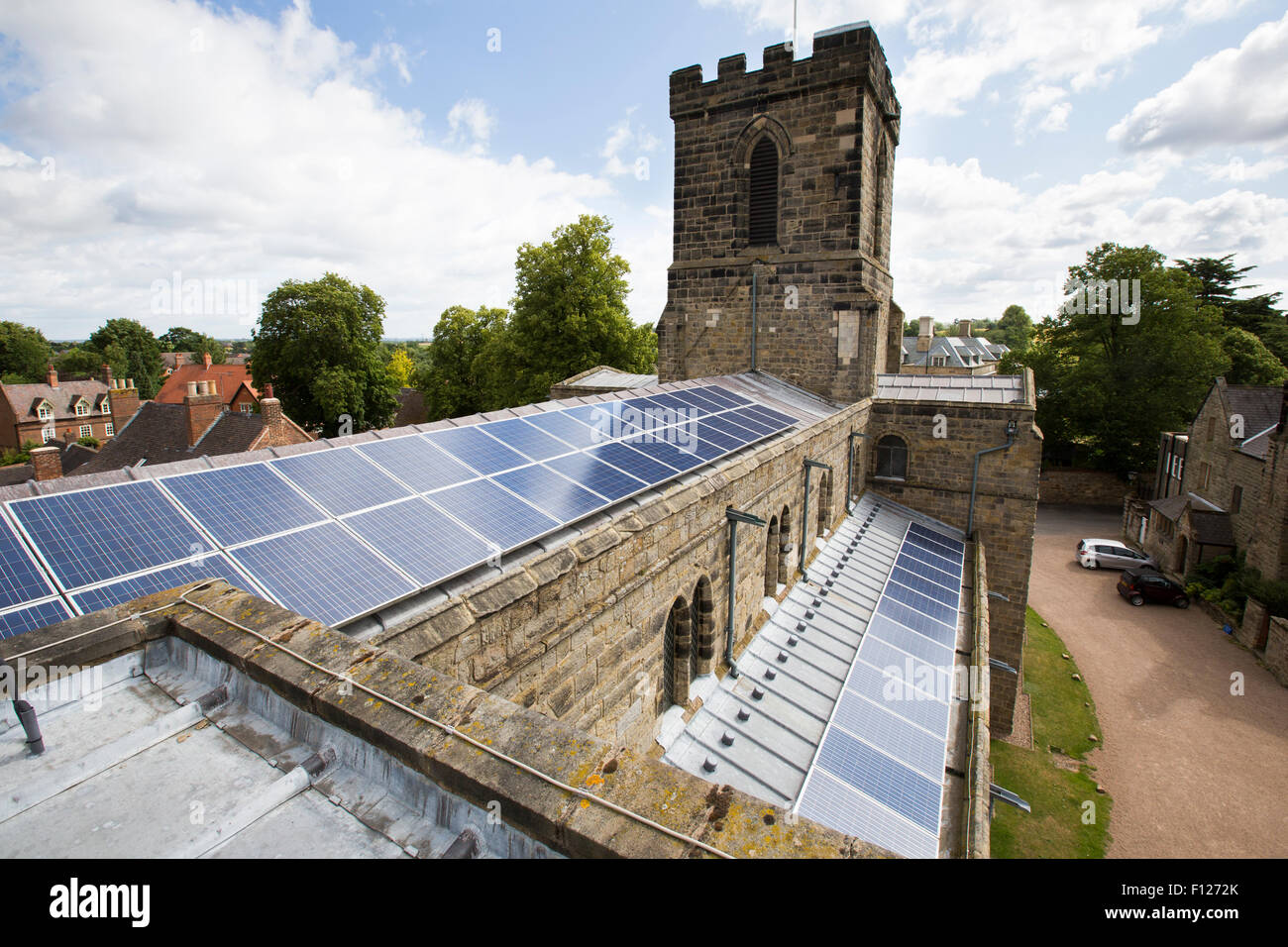 Solar Panels On A Church Roof In Melbourne Derbyshire Uk