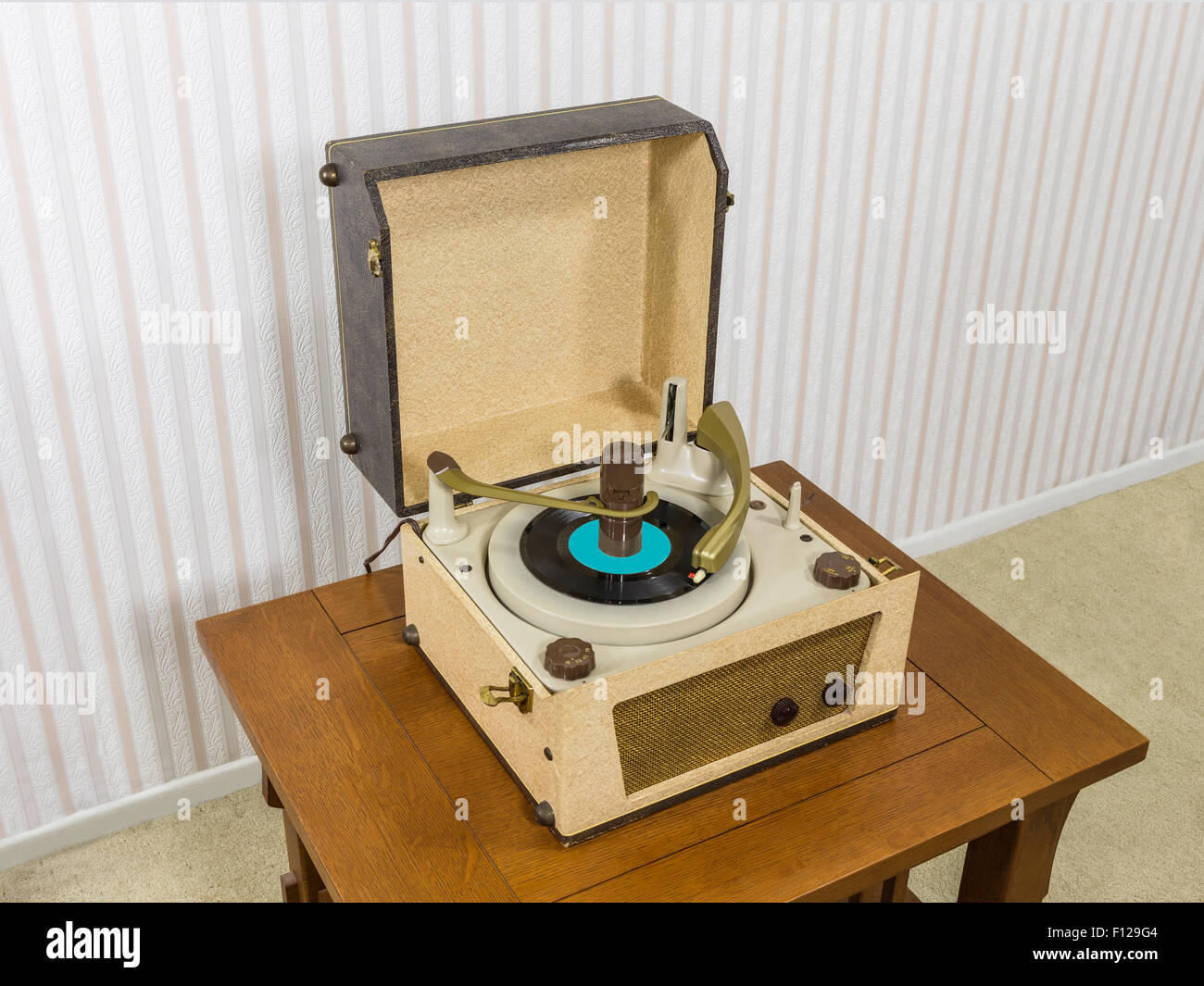 Vintage 1960 39 S Record Player On Wood Table Stock Photo