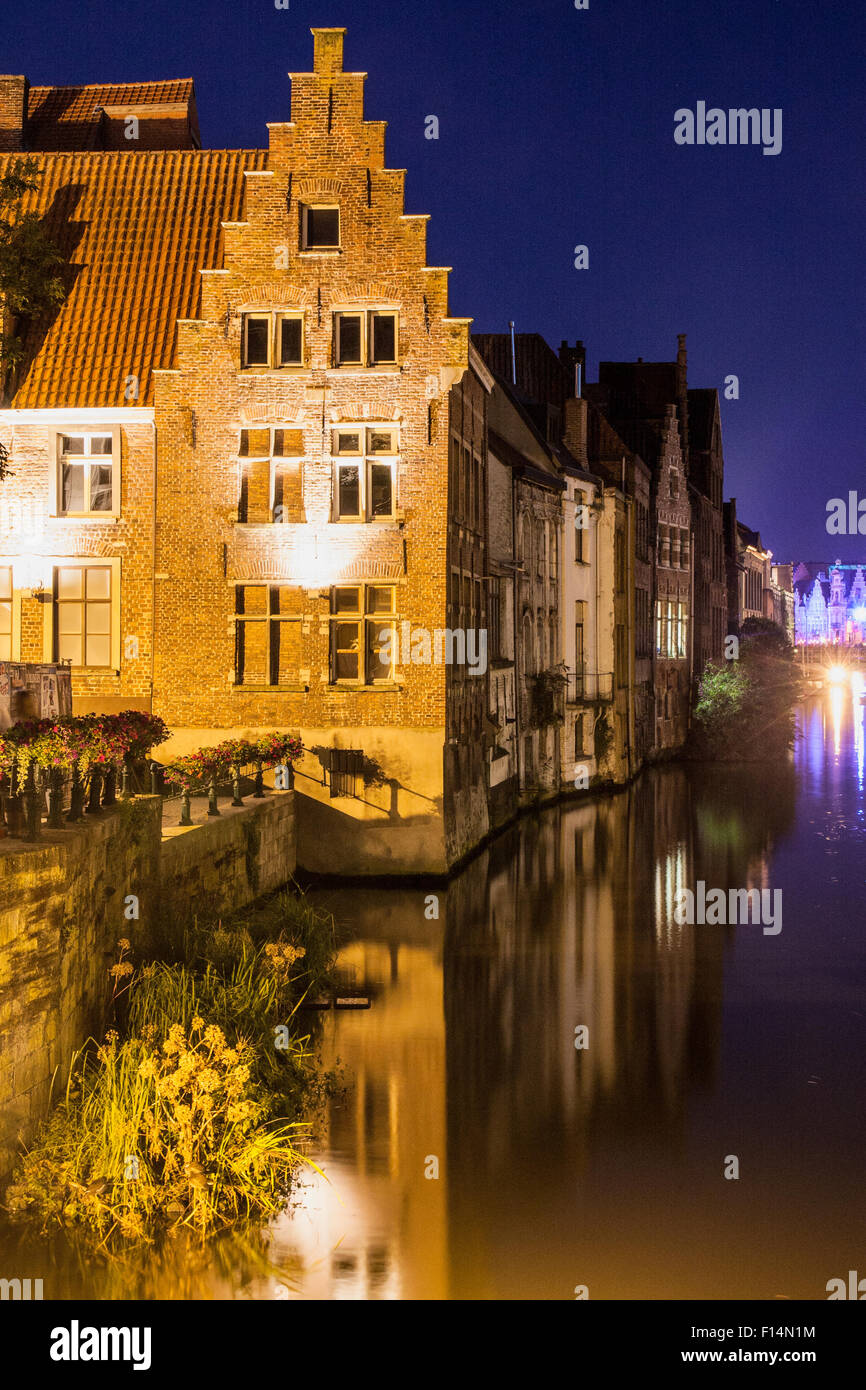 Old brick house in bruges at night Stock Photo, Royalty ...  Old brick house...